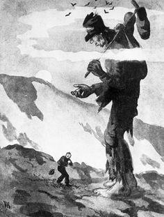 """""""Vær ikke redd for meg, du gutten min,"""" sa fattigmannen [Illustrasjon] Theodore Kittelsen, Human Giant, Landscape Tattoo, Troll, Fantasy Art, Fairy Tales, Illustrator, Concept Art, Moose Art"""