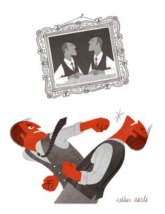 Brawl Brothers Illustration for article about notorious tiffs in family businesses.