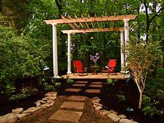 Pergola, yes please! I'd include some type of chandelier lighting such as the wire basket with candles.
