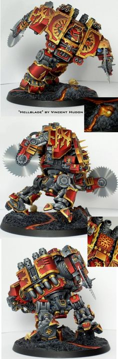 High Fives for the Warhammer - World Eaters Chaos Space Marines Dreadnought 'Hellblade.' A very appropriate conversion for the Berserk Chapter. Figurine Warhammer, Warhammer Art, Warhammer Models, Warhammer 40k Miniatures, Warhammer Fantasy, Warhammer 40000, Warhammer Games, Space Marine Dreadnought, Chaos Dreadnought
