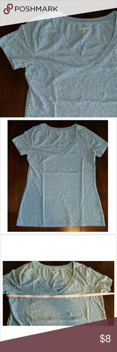 Heather Turquoise V-neck Tee Normal wear from laundering. I don't see any holes or stains. Comfy tee! Mossimo Supply Co. Tops Tees - Short Sleeve