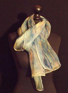 Jetstream blau, abstrakt, Organza Seidenschal von Stefania Silk Arts auf DaWanda.com