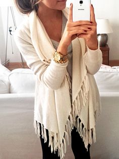 fringed cardigan.