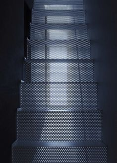 Perforated metal mesh stairs give an industrial look. Lightweight and lets in light. Stair Handrail, Staircase Railings, Staircase Design, Stairways, Yamagata, Metal Stairs, Modern Stairs, Interior Stairs, Interior And Exterior