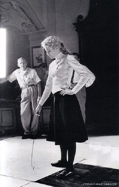 Grace on the set of The Swan - Photo by Howell Conant.