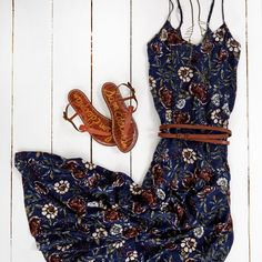 A&F Floral Maxi Dress: Lightweight and drapey with all-over floral print, flowing skirt and skinny straps | Finish your look with a skinny belt & Sam Edelman strappy sandals. | Abercrombie.com