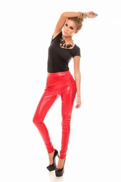 Pantaloni Missy Rosii- www.zonia.ro Leather Pants, Trousers, Sexy, Collection, Women, Fashion, Leather Jogger Pants, Trouser Pants, Moda