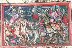 14th century helmet / helmets ( manuscript : BSB Cgm 5 Weltchronik in Versen, Folio 139r, 1370, Germany )