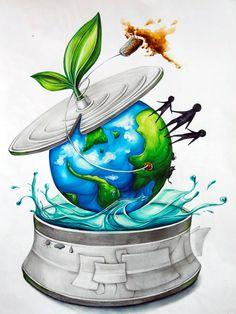 2016 계명대학교 실기대회 수상작/복현 창조의 아침 : 네이버 블로그 Earth Drawings, Sad Drawings, Dark Art Drawings, Oil Pastel Paintings, Oil Pastel Drawings, Modern Art Paintings, World Environment Day Posters, Environment Painting, Save Earth Drawing