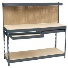 Edsal 60 in. H x 72 in. W x 24 in. D Steel Workbench with Pegboard and Drawer Storage-MRWB-6 - The Home Depot