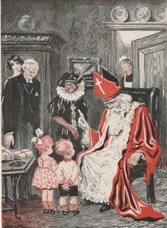 Oude illustratie, Sinterklaas en Zwarte Piet
