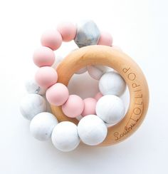 Loulou Lollipop Beech Wood Teether Ring- Pink/Gray