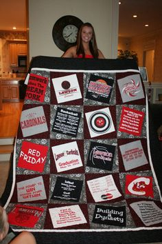T-shirt quilt idea Like how this is offset - how I can make mine and Zachs high school quilts