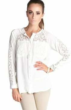 DailyLook Women's, Lace Trim Long Sleeve Top