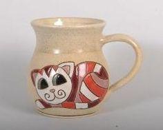 Handmade ceramic mug 300 ml (red cat) - Purrfect Ceramics Online Shop