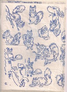 Vintage squirrel embroidery patterns