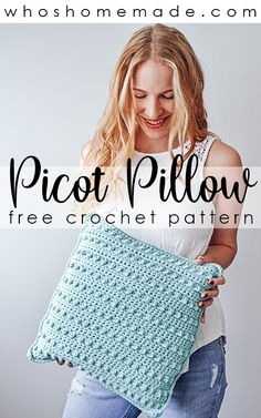 The Picot Pillow is a modern crochet throw pillow cover full of beautiful texture! This free crochet pillow pattern is quick and easy, and can be adjusted to any size! Crochet Throw Pattern, Crochet Pillow Patterns Free, Modern Crochet Patterns, Crochet Stitches Patterns, Modern Crochet Blanket, Free Pattern, Crochet Pillow Cases, Crochet Cushion Cover, Crochet Cushions