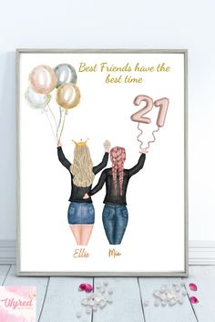 Best friend gift, BFF, Bestie, #21stbirthday #giftsforher #21stbirthdayideas #personalisedprints Personalized Best Friend Gifts, Personalized Birthday Gifts, Customized Gifts, Personalised Prints, Printable Pictures, 21st Birthday Gifts, Presents For Men, Pretty Designs, All Family