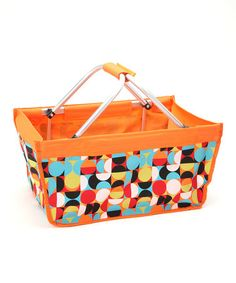Take a look at this Orange Geometric Pattern Carryall Market Basket by Dennis East International on #zulily today!