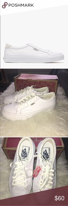 NIB Vans Court Leather in white New In Box. Vans Court Leather in white. Women's size 6.5/ men's size 5. Never worn and in perfect condition in Box. Love the item but not the price? Please make offers using the offer button. 🚫POSH ONLY, NO TRADES OR COMMENT OFFERS🚫 Vans Shoes Sneakers
