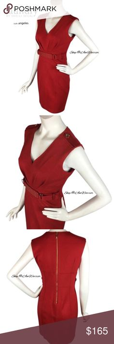 Laundry NWT sleeveless red dress w/studded belt Gorgeous NWT sleeveless Laundry by Shelli Segal lipstick red dress with sexy v-neck, fitted silhouette and gold studded belt. Has gold button epaulets, nice thicker stretch knit fabric & exposed gold tone zipper in the back. Fits 4/6. Brand new with tags, sold out everywhere, retailed at $265 & selling at $100 off retail! Measurements upon request. Please read my bio regarding closet policies prior to any inquiries. Laundry By Shelli Segal…
