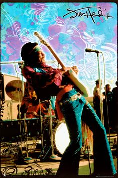 There were great rock guitarists before Jimi Hendrix, but he reinvented the sound and did things that are virtually impossible to replicate to this day. Shown here is a classic image of Jimi playing guitar, with a psychedelic style background.