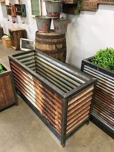 Reclaimed Planters Vintage Corrugated Metal Barn R Corrugated Tin, Corrugated Roofing, Corrugated Metal Roof Panels, Tin Roofing, Metal Planter Boxes, Large Planters, Galvanized Planters, How To Rust Galvanized Metal, Fence Planters