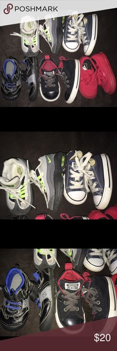 Nike Air Max Converse Vans Boy Shoes Sz6 All shoes are in very good condition, with the exception of mimimal use or wear such as needing a spot clean.  They have no rips, saturated stains or odor.  All Size 6... nike converse air max healthtex vans Shoes Sneakers
