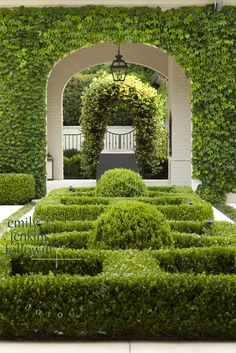 Garden Design Ideas : Boxwood parterre and Boston Ivy covered loggia in garden by Howard Design Studio… Boxwood Garden, Topiary Garden, Garden Hedges, Topiary Plants, Landscape Architecture, Landscape Design, Garden Design, Formal Gardens, Outdoor Gardens