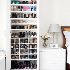 California Closets makes over one domino staffer& scary shoe situation in her small apartment. See how California Closets transformed one disorganized shoe closet into a beautiful storage situation. California Closets, California Travel, Closet Bedroom, Bedroom Storage, Diy Bedroom, Closet Shoe Storage, Bedroom Ideas, Closet Space, Bedroom Designs