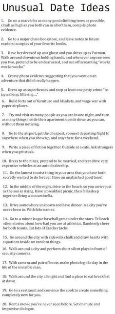(11) unusual date ideas | Tumblr