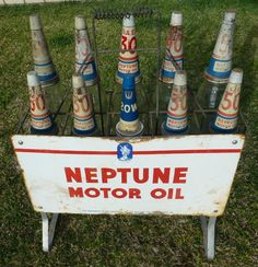 Original Neptune motor oil bottle rack