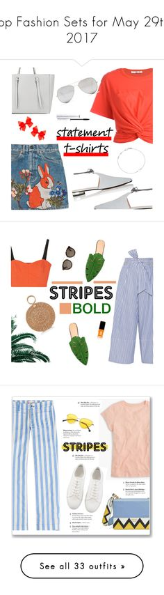 """Top Fashion Sets for May 29th, 2017"" by polyvore ❤ liked on Polyvore featuring T By Alexander Wang, Gucci, Sunny Rebel, Barneys New York, Astley Clarke, SIWA, Valextra, MAC Cosmetics, womensFashion and slogantshirts"