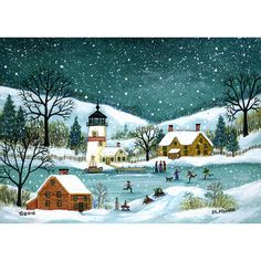 Folk Art painting of Winter by the Light House. People skating and ice fishing near the Light House. Winter Painting, Winter Art, Christmas Artwork, Winter Illustration, Pintura Country, Primitive Folk Art, Impressionist Art, Naive Art, Country Art