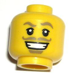 LEGO Yellow Swashbuckler MINIFIGURE HEAD Pirate Chef Mustache 71007 #LEGO