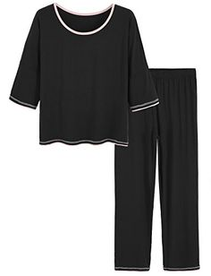 Latuza Womens V-Neck Sleepwear Short Sleeves Top with Pants Pajama Set
