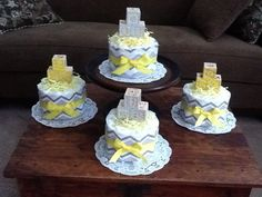 Chevron Stripes yellow and Grey Diaper by bearbottomdiapercakes, $12.00