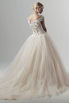 Off-the-shoulder straps, fitted bodice, and billowing skirt create an elegant look for this lace princess wedding dress. Maggie Sottero, Princess Wedding Dresses, Bridal Dresses, Gown Wedding, Sottero And Midgley Wedding Dresses, Sottero Midgley, Blush Gown, Designer Wedding Gowns, Perfect Wedding Dress