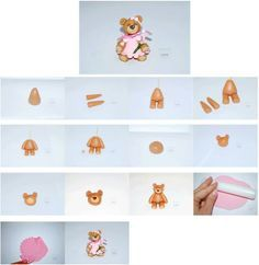 Step by step Teddy Bear  and Dress  http://cake.corriere.it/2013/08/09/pink-garden-party-tutorial-per-realizzare-una-tenera-torta-con-orsetto/