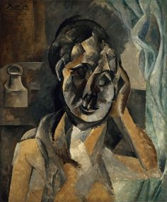 Pablo Picasso, 1910, Woman with Mustard Pot (La Femme au pot de moutarde), oil on canvas, 73 x 60 cm, Gemeentemuseum Den Haag. Exhibited at the Armory Show, New York, Chicago, Boston 1913