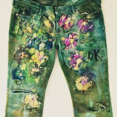 tagged: bleached-out. distressed. hand-dyed. hand-painted. spray-painted denim by onward kitty. by cat stahl.