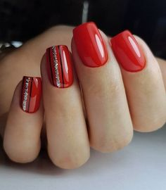 red nails design * red nails + red nails acrylic + red nails design + red nails glitter + red nails coffin + red nails short + red nails acrylic coffin + red nails with rhinestones Red Acrylic Nails, Pink Nails, Glitter Nails, Gel Nails, Red Manicure, Pastel Nails, Xmas Nails, Holiday Nails, Christmas Nails