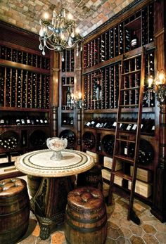 i want a wine cellar in my basement; lovin these barrel seats, make me feel like a pirate.