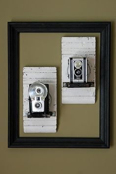 Vintage camera display how to!! The perfect way to display our vintage cameras! I will need to do a whole wall if I keep up the way I'm collecting them :)
