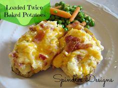 Loaded Twice Baked Potato  www.spindlesdesigns.com #twicebakedpotato