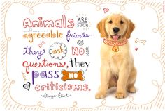 Animals are such agreeable friends - they ask no questions, they pass no criticisms.