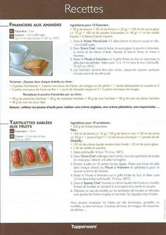 Fiche recette Moule à financiers 2/2 - Tupperware : financiers aux amandes, tartelettes sablées aux fruits