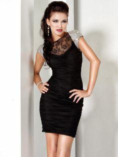 #Jovani style 5702 #JovaniFashions, #LittleBlackDress #LBD #crystal #embellished #lace #ruched #dress