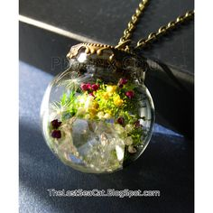 Real Dandelion Necklace Diamond terrarium necklace  by phoenixchiu
