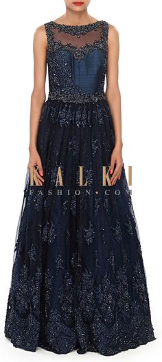 Buy Online from the link below. We ship worldwide (Free Shipping over US$100) Price-$1029 Click Anywhere to Tag http://www.kalkifashion.com/navy-blue-gown-embellished-in-sequin-and-kardana-butti-only-on-kalki.html